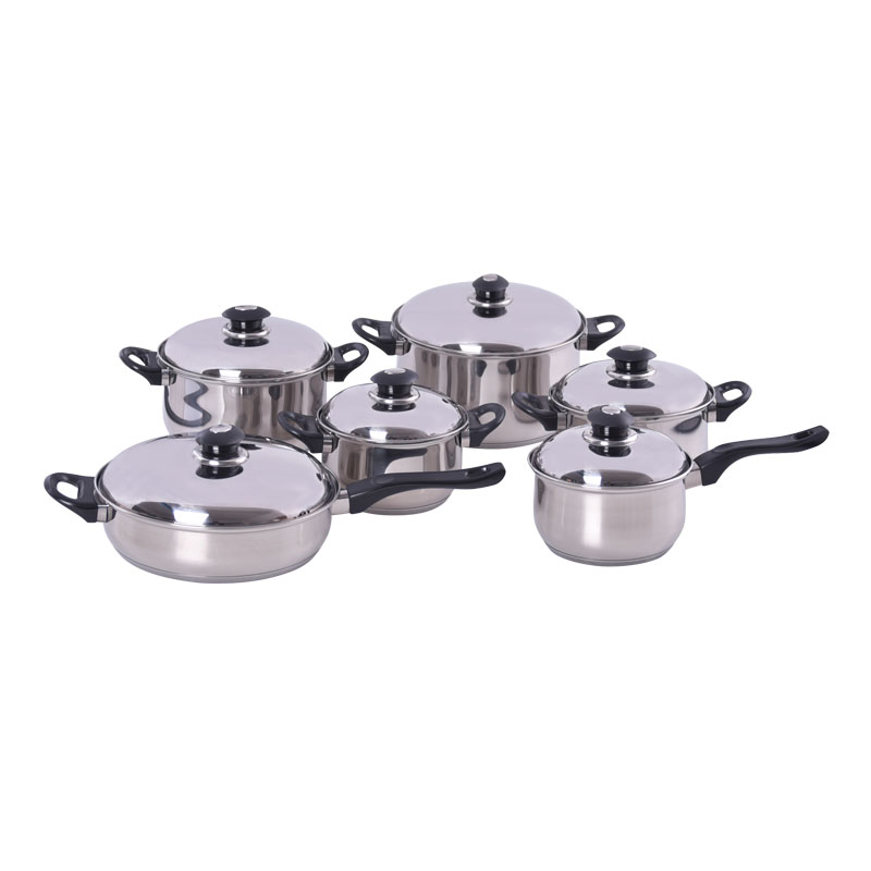 12PCS STAINLESS STEEL COOKWARE SET KH-1008