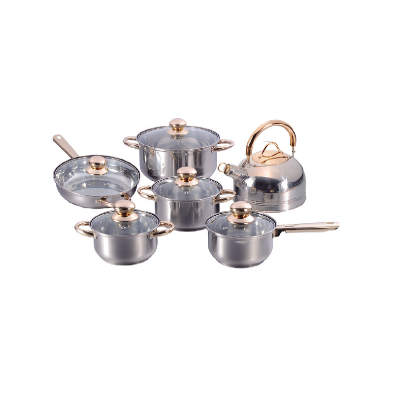12PCS STAINLESS STEEL COOKWARE SET BG-01DK