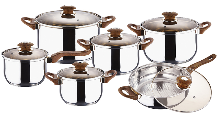 12PCS STAINLESS STEEL COOKWARE SET KH-1006