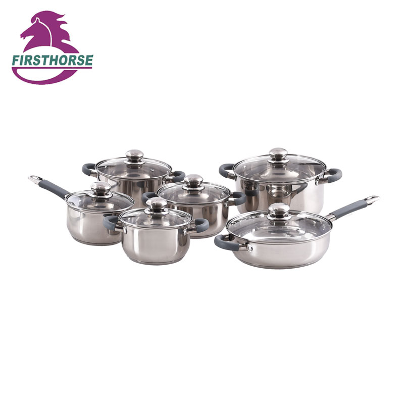 12PCS STAINLESS STEEL COOKWARE SET BG-9012A